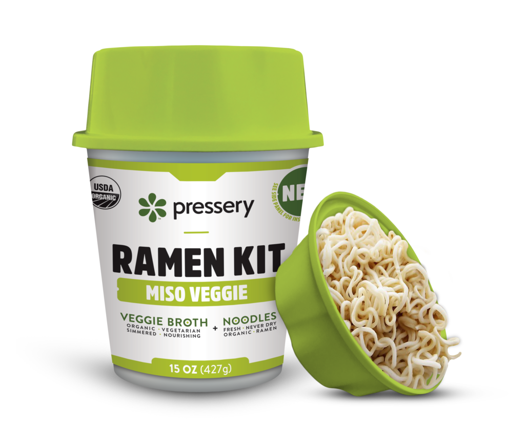 Miso Veggie Ramen Kit, made with our miso broth and fresh wheat noodles