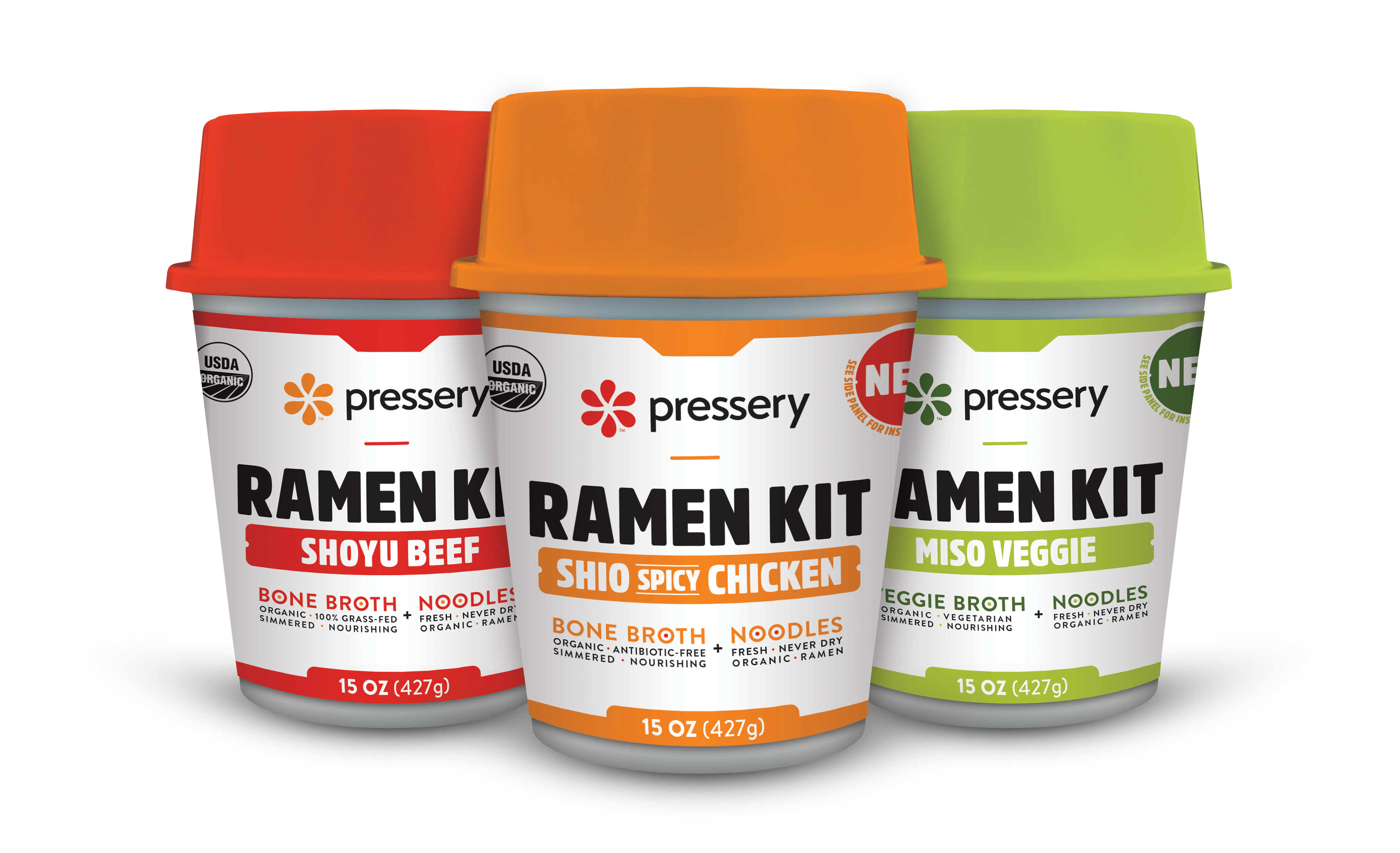 Our ramen kits will be available in three mouthwatering flavors -- Shoyu Beef, Shio Spicy Chicken, and Miso Veggie.